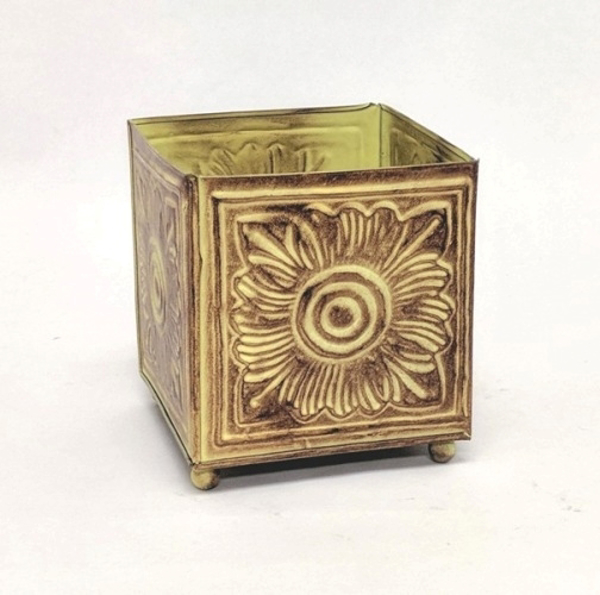 "Picture of Earth Tone Planter Embossed Pattern Square Footed Small | 5.00"" x 6.00""H 