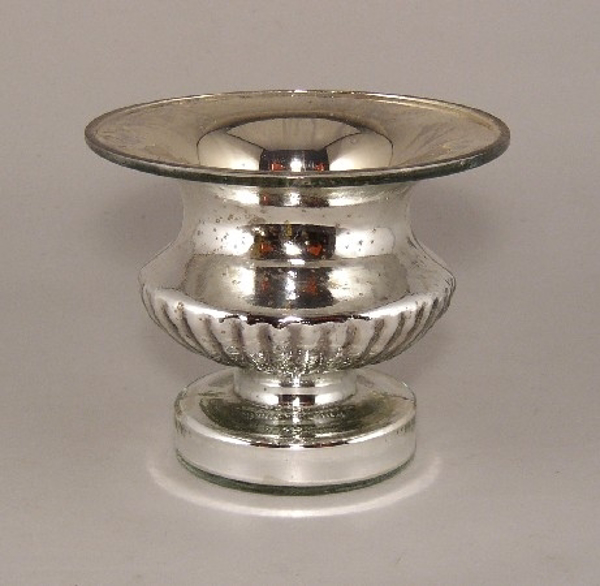 "Picture of Silver Bowl Mercury Glass Dry Flower Arrangement Urn Shaped | 6""Dx5""H 