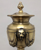 """Picture of Antique Gold Finish on Brass Unique Decorative Accent Finial Triangle Base  