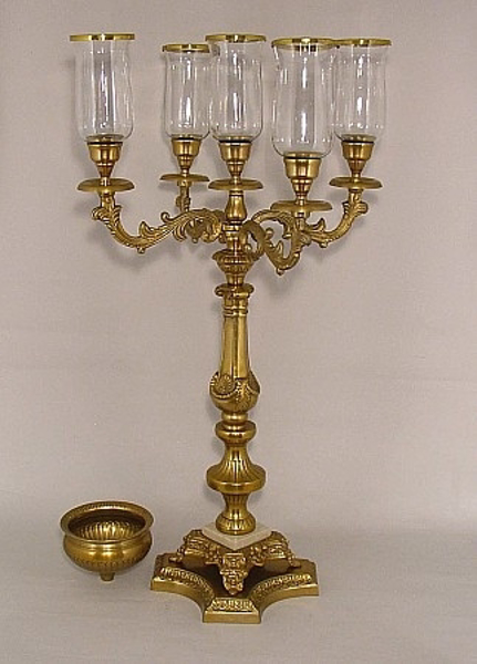 "Picture of Candelabra Antique Gold Four Arms and Bowl | 17.5""Wx35""H 