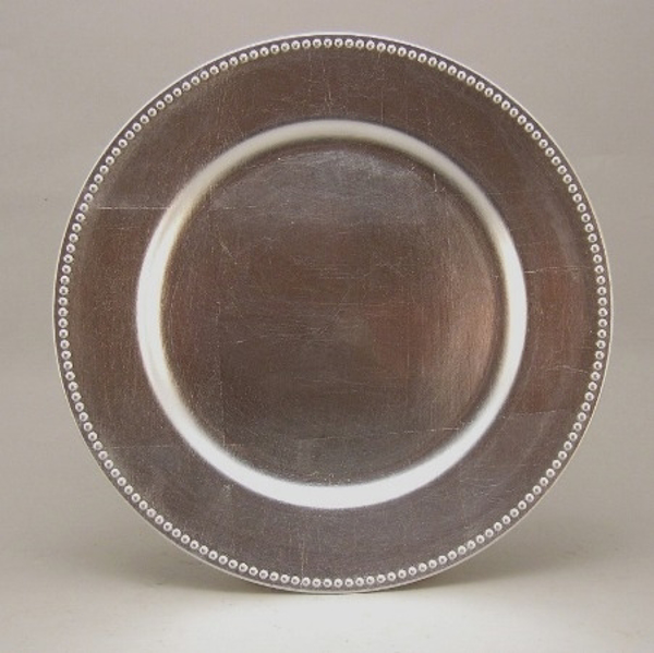 """Picture of Charger Plate Silver Acrylic Bead Border Set/6  