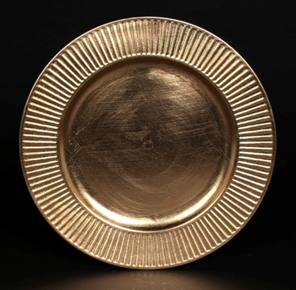 "Picture of Charger Plate Gold Acrylic Sun Rays Line Border Set/6  | 13""Diameter 