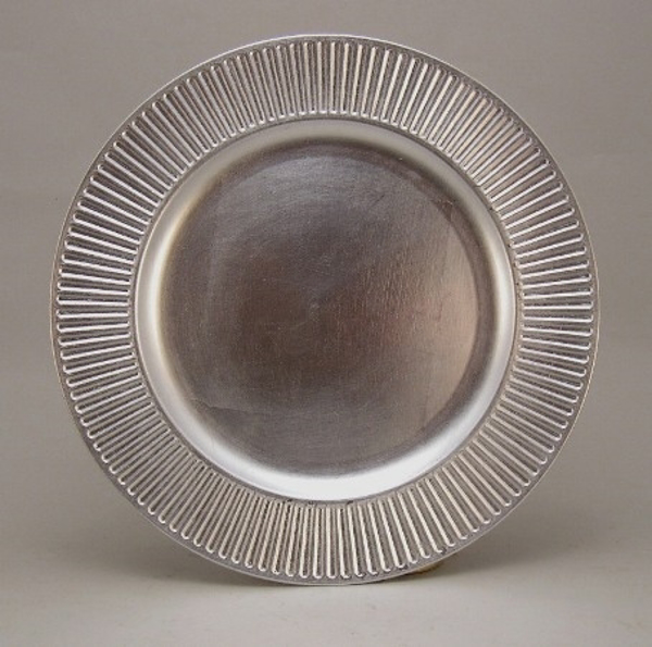 """Picture of Charger Plate Silver Acrylic Sun Rays Line Border Set/6  