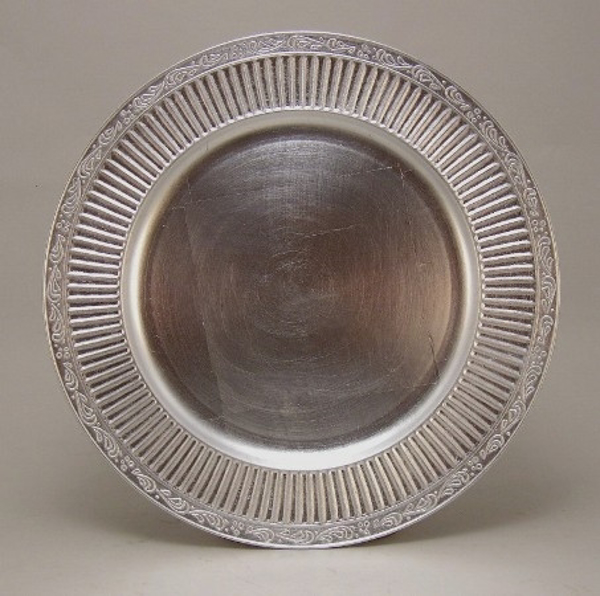 "Picture of Charger Plate Silver Acrylic Embossed Border Set/6  | 13""Diameter 