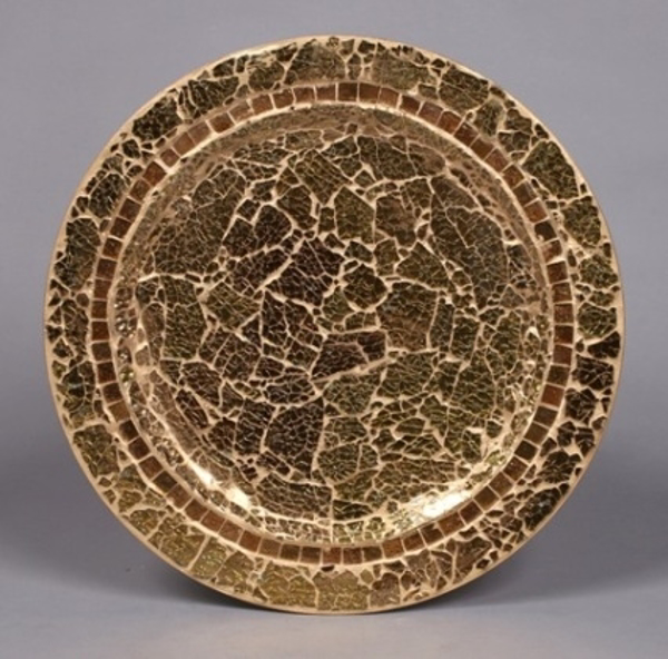 "Picture of Charger Plate Gold Mosaic on Metal Base Set/6  | 13""Diameter 