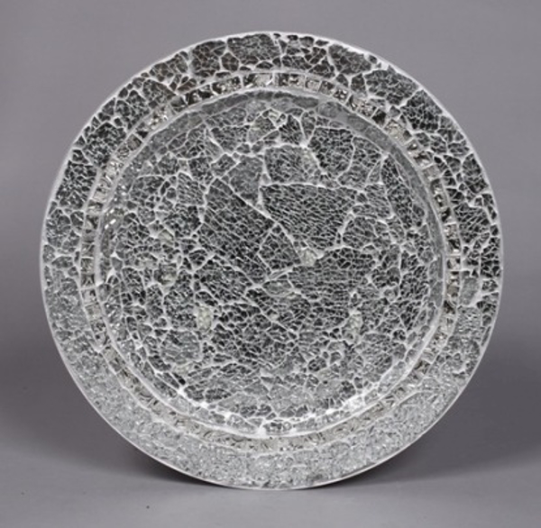 "Picture of Charger Plate Silver Mosaic on Metal Base Set/6  | 13""Diameter 