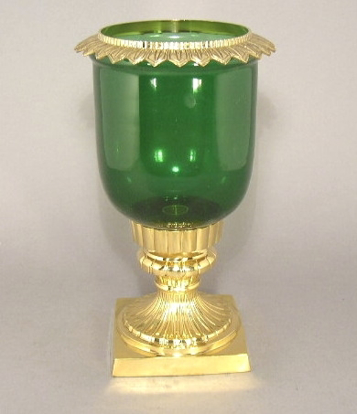 "Picture of Brass Square Base Short Candle Holder with Clear Green Glass Shade | 7.5""D x 16.0""H 