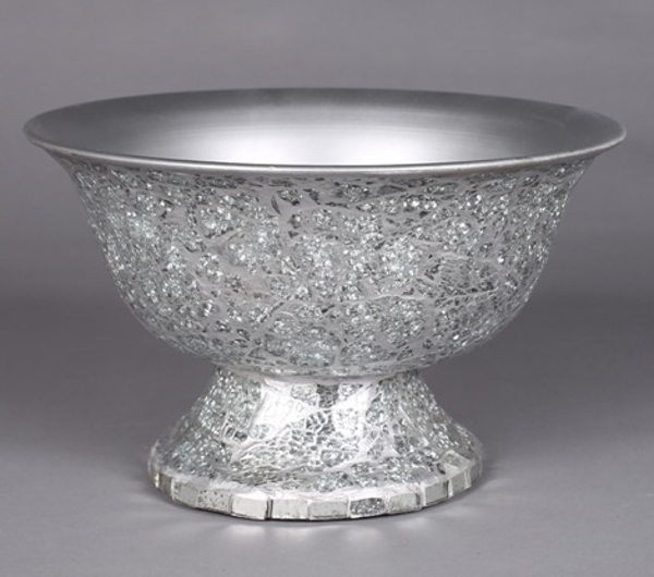 "Picture of Silver Bowl Compote Vase Irregular Shaped Glass Chips Mosaic Pattern Revere Shape | 10""Dx6""H 