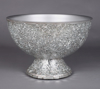 """Picture of Silver Bowl Compote Vase Irregular Shaped Glass Chips Mosaic Pattern   10""""Dx7""""H   Item No. 24314"""