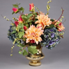 "Picture of Gold Bowl Vase Mercury Glass Dry Flower Arrangement Urn Shape | 8""Dx7""H 