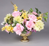 "Picture of Gold Bowl Mercury Glass Dry Flower Arrangement  Smooth with Flared Rim | 8""x5""H 