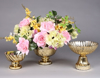 """Picture of Gold Bowl Mercury Glass Dry Flower Arrangement Ribbed Pattern 