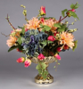 """Picture of Gold Bowl Mercury Glass Dry Flower Arrangement Shallow Tray 
