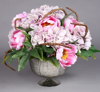"""Picture of Silver Bowl Mercury Glass Dry Flower Arrangement with Lines 