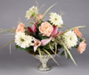 """Picture of Silver Bowl Mercury Glass Dry Flower Arrangement Ribbed Pattern 