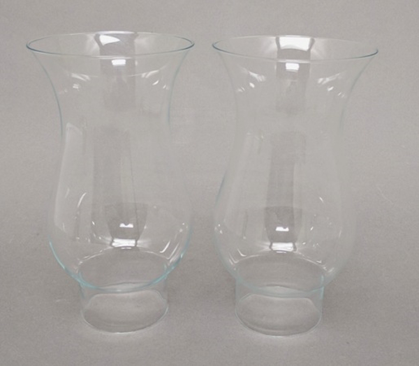 "Picture of Clear Glass Hurricane Shade Pair  4.25""Dx8""H  #K20925P"