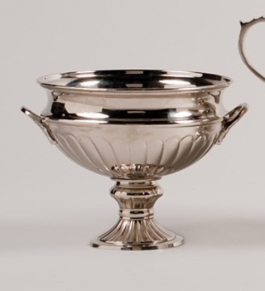 "Picture of Nickle Plated on Brass Bowl with Handles on Pedestal Base | 8""Dx7""H 