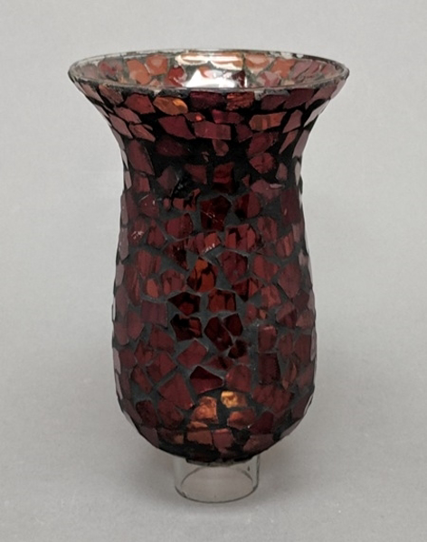 """Picture of Mosaic Glass Hurricane Shade Red 4.5""""Dx7.5""""H  #20172"""