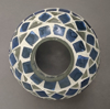"""Picture of Mosaic Glass Hurricane Shade Blue Border 4""""Dx7.5""""H  #79512"""