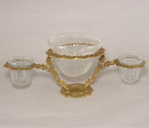 """Picture of Bowls 3-Crackle Glass in Embossed Leaf Brass Stand 