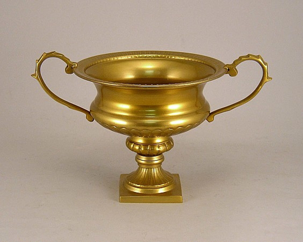 """Picture of Antique Gold on Aluminum Bowl with Handles on Pedestal Base    8""""Dx7""""H    Item No. 51473X"""