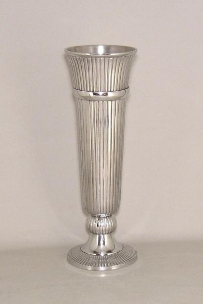 "Picture of Polished Aluminum Trumpet Vase with Lines Floral Centerpiece | 6.5""Dx19""H |  Item No. 51604"