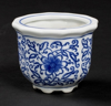 """Picture of Blue Floral Print on White Ceramic Planter Round Set/4  