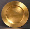 """Picture of Charger Plate Antique Gold Finish on Brass Round  Set/4  