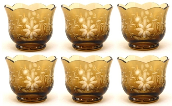 """Picture of Votive Candle Holder Scalloped Cut Color Glass Amber Set of 6 