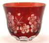 """Picture of Votive Candle Holder Floral Cut Red Color Glass Set of 6  