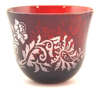 "Picture of Votive Candle Holder Red Color Glass Leaf Cut Etching Set of 6  |3""Dx2.5""H