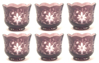 """Picture of Votive Candle Holder Scalloped Rim Amethyst Color Etched Glass Set of 6  3.5""""Dx2.75""""H   Item No.20653"""