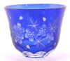 "Picture of Votive Candle Holder Floral Etched Blue Color Glass Set of 6 |3""Dx2.5""H