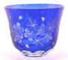 "Picture of Votive Candle Holder Floral Etched Blue Color Glass Set of 6 |3""Dx2.5""H|  Item No.20644"