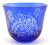 "Picture of Votive Candle Holder Leaf Pattern Etching Blue Color Glass Set of 6 |3""Dx2.5""H