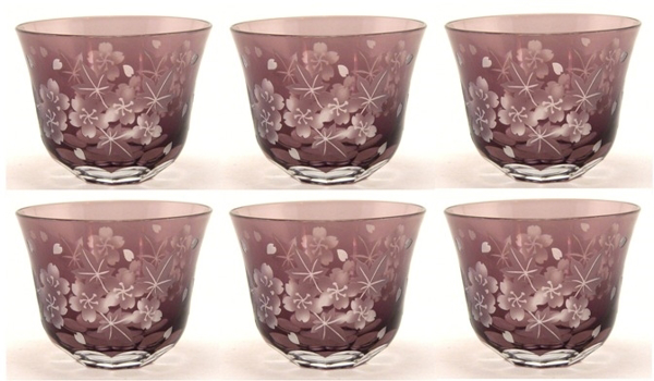 """Picture of Votive Candle Holder Floral Etching Amethyst  Color Glass Set of 6  