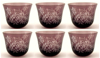 "Picture of Votive Candle Holder Leaf Design Etching Amethyst Color Glass Set of 6 |3""Dx2.5""H|  Item No.20656"