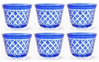"Picture of Votive Candle Holder Mesh Cut Etching Blue Color Glass Set of 6 |3""Dx2.5""H