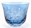 "Picture of Votive Candle Holder Floral Etching  Light Blue Color Glass Set of 6 |3""Dx2.5""H