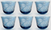 "Picture of Votive Candle Holder Leaf Etching Light Blue Color Glass  Set of 6 |3""Dx2.5""H|  Item No.20666"