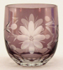 "Picture of Votive Candle Holder Mini Amethyst Color Etched Glass Set of 6 |2.25""Dx2.25""H
