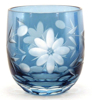"Picture of Votive Candle Holder Flower Etching Light Blue Color Glass Set of 6 |2.25""Dx2.25""H
