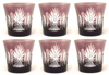 "Picture of Votive Candle Holder Etched Amethyst Color Glass Set of 6 |3.5""Dx3.25""H
