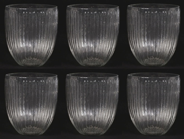 "Picture of Votive Candle Holder Clear Glass with Lines Set of 6 |3.5""Dx4""H