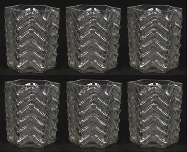 """Picture of Votive Candle Holder Clear Glass Hexagon Set of 6 