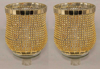 """Picture of Peg Votive Candle Holder Rhinestone Gold Set of 2    3.75""""Dx5""""H    Item No. 20121"""