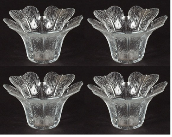 """Picture of Votive Candle Holder Clear Glass Tulip Shaped Set of 4 