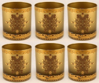 """Picture of Votive Candle Holder Gold Glass with Gold Print Cylinder Set of 6  