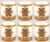 """Picture of Votive Candle Holder White Glass with Gold Print Cylinder Set of 6 