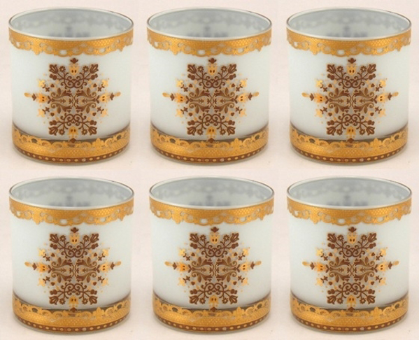 """Picture of Votive Candle Holder Light Blue Glass with Gold Print Cylinder  Set of 6  I2.75""""Dx3""""H